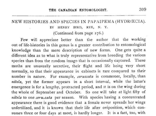 Bird's 1907 paper in Canadian Entomologist